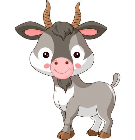 Farm animals. Illustration of cute Goat Vector