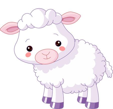 農場の動物。かわいい子羊のイラスト