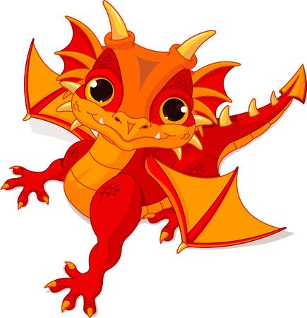 Illustration of cute cartoon baby dragon  Vector
