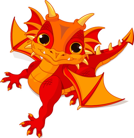 the red dragon: Illustration of cute cartoon baby dragon