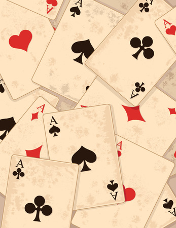 playing card symbols:  Retro-Background with Playing Card symbols  Illustration