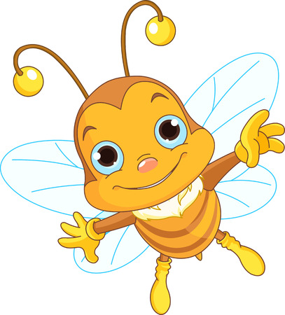 Illustration of a Friendly Cute Bee Flying