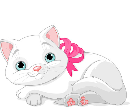 Illustration of cute white cat with pink bow