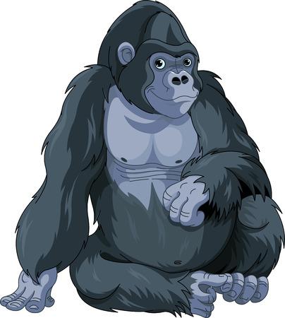 Illustration of cute cartoon sitting gorilla