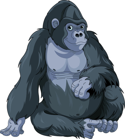 Illustration of cute cartoon sitting gorilla Vector