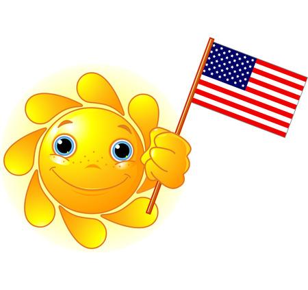 Cartoon Character  of Cute Summer Sun holding American Flag