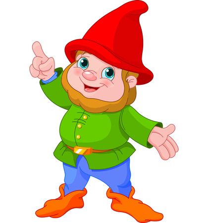 lawn gnome:   Illustration of cute Gnome presenting