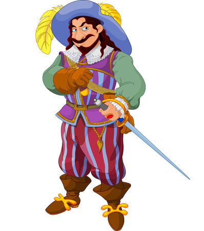 Man with a period costume and a sword posing. Illustration