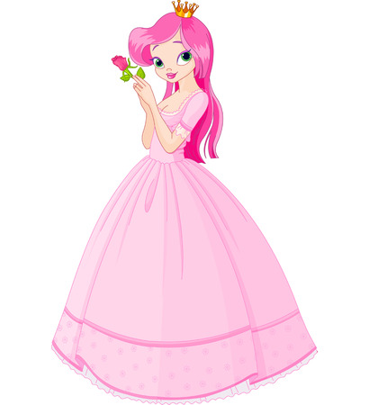 Illustration of beautiful  princess holding rose