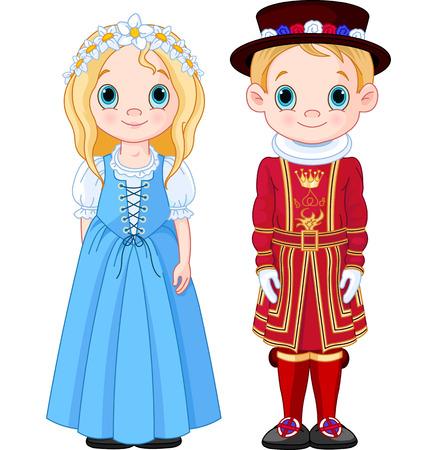 inglaterra: Menino e menina em trajes populares do Reino Unido.