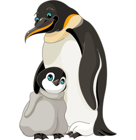 cartoon penguin: An adult Emperor Penguin with its chick Illustration