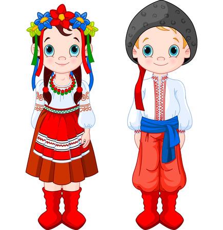 Chico y Chica en trajes folclóricos ucranianos. Ilustración de vector
