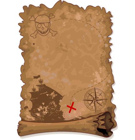 schepen: Illustratie van Pirate scroll kaart
