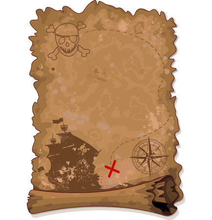 Illustration de pirate carte de défilement Banque d'images - 29139503