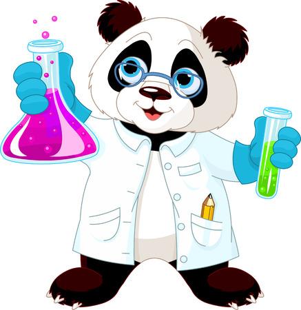 Una panda linda en bata de laboratorio mezclar productos químicos.