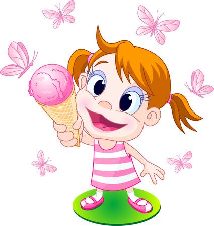 Illustration of the little girl ready eats her summer treat. Vector