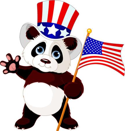 Cute Panda Holding American Flag Vector