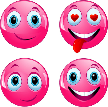 character traits:  Pink smiley ball being happy, in love and enjoying Illustration