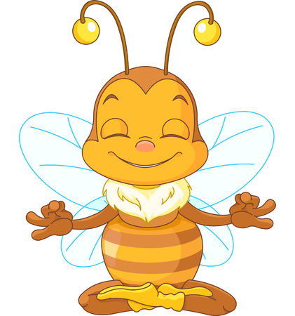 meditates:  Cute bee sitting in the lotus position and meditates