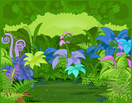 wilds:   Jungle landscape with different plants and flowers  Illustration