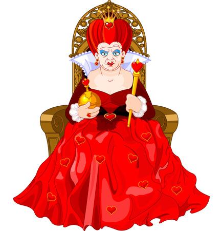 怒っているハートの女王の王位に