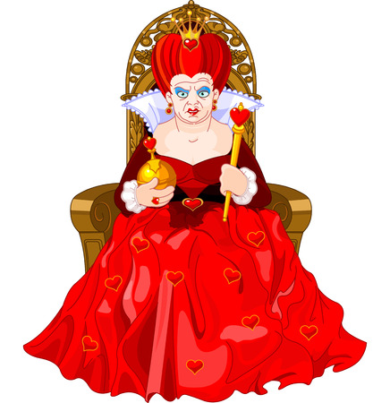 Angry Queen of Hearts on throne Vector
