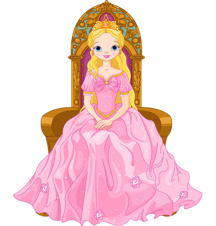Illustration of young queen sitting on the throne Vector