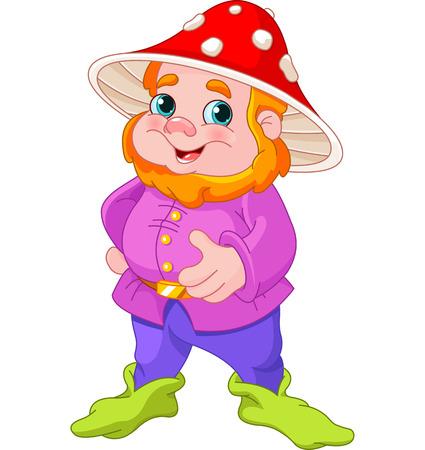 Illustratie van leuke Gnome met paddestoel hoed Stock Illustratie