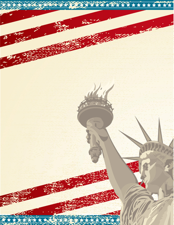 A grunge poster with the statue of liberty Vettoriali