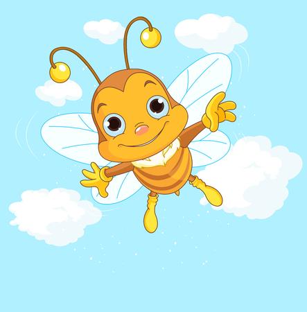 Friendly Cute Bee flying in the sky Vector