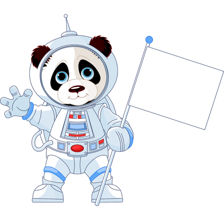 Illustration of astronaut Panda holds blank flag sign