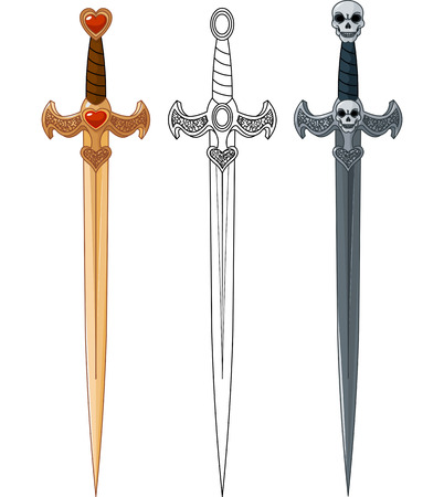 broadsword:   Three swords with rope bound handle and jeweled base