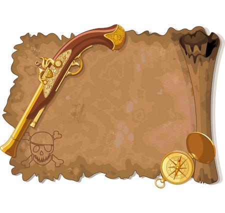 Illustration des alten Piraten-Scroll, Gun und Kompass Standard-Bild - 29457510
