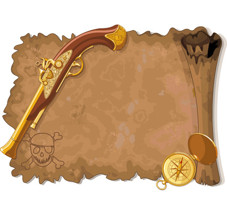 Illustration of old Pirate Scroll, Gun and Compass Vector
