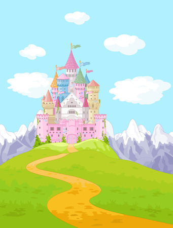 Fairy Tale magic Princess Castle Landscape Vector