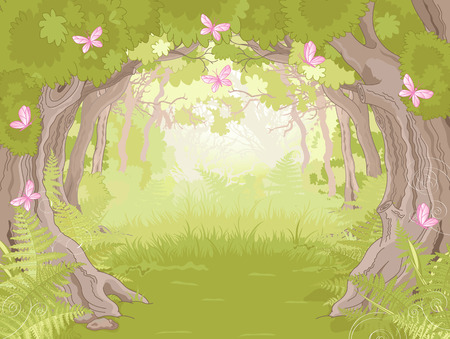 miracle tree: Beautiful Glade in the Magic forest  Illustration