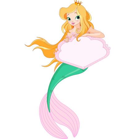 Cute Mermaid holding blank sign
