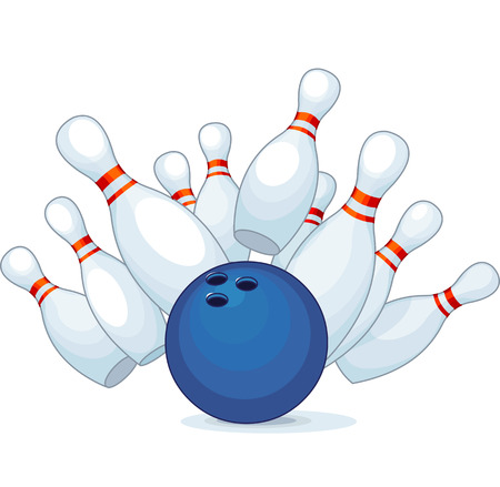 on strike:  Illustration of a bowling ball strike with falling pins  Illustration
