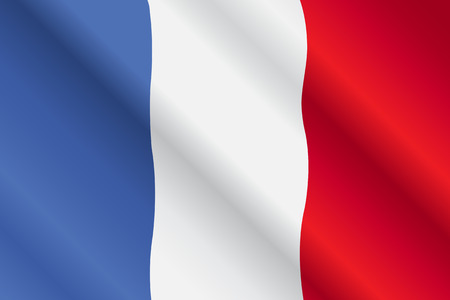 french flag: Illustration of France flag blowing in the wind