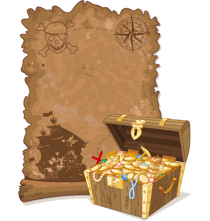 Pirate scroll map and chest full of gold Ilustração