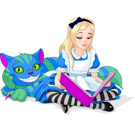 alice au pays des merveilles: Pays des merveilles Alice lisant un livre et le chat de Cheshire Illustration