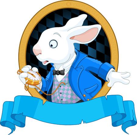 cartoon bunny: Coniglio bianco con il disegno orologio da tasca Vettoriali
