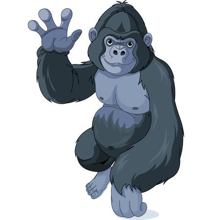 Illustration of cute cartoon gorilla waving hello Illusztráció