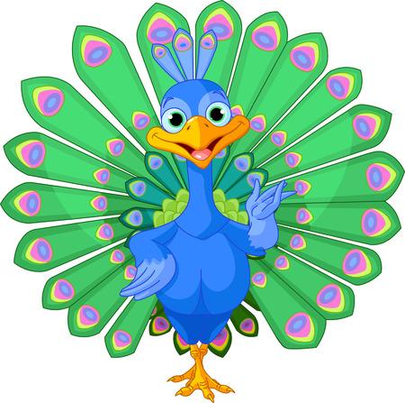 green cute:  Cartoon peacock bird with beautiful tail. Illustration