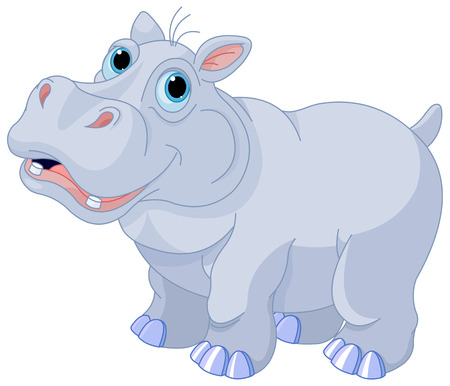 african grey: Illustration of very cute hippo