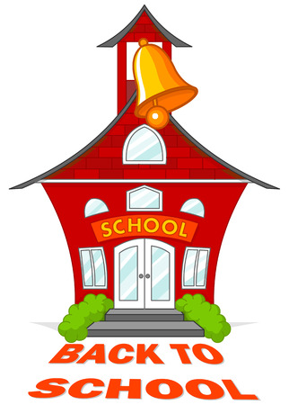 Illustration of cute school building with a bell