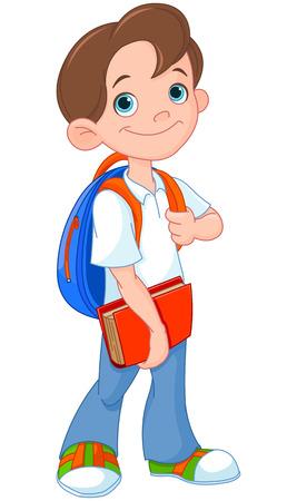学校に行く準備ができての男子生徒  イラスト・ベクター素材