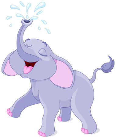 Illustration of playing baby elephant with water