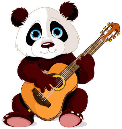 Illustration of panda plays guitar Çizim