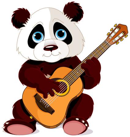 oso panda: Ilustración de la panda toca la guitarra Vectores
